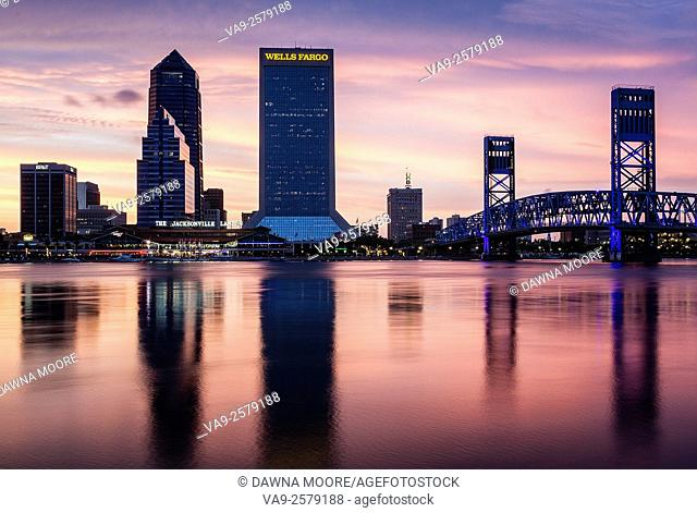Jacksonville Skyline at Sunset, Jacksonville, Florida
