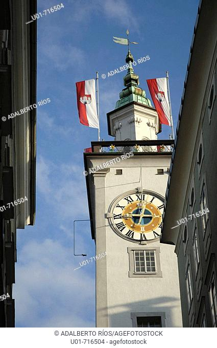 View of the town hall tower from Getreidegasse. Salzburg. Austria