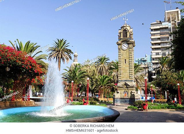 Chile, Antofagasta region, Antofagasta, clock tower and fountain of Plaza Colon or Christopher Columbus up