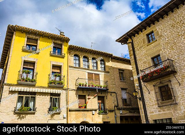Traditional architecture. French Way, Way of St. James. Viana, Navarre, Spain, Europe