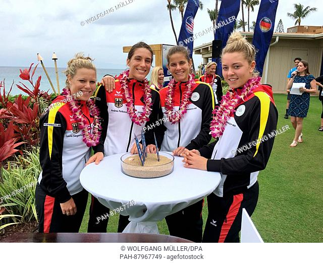 The German Fed-Cup tennis team with Laura Siegemund, Andrea Petkovic, Julia Goerges and Carina Witthoeft poses after the draw of the duels against the US on the...