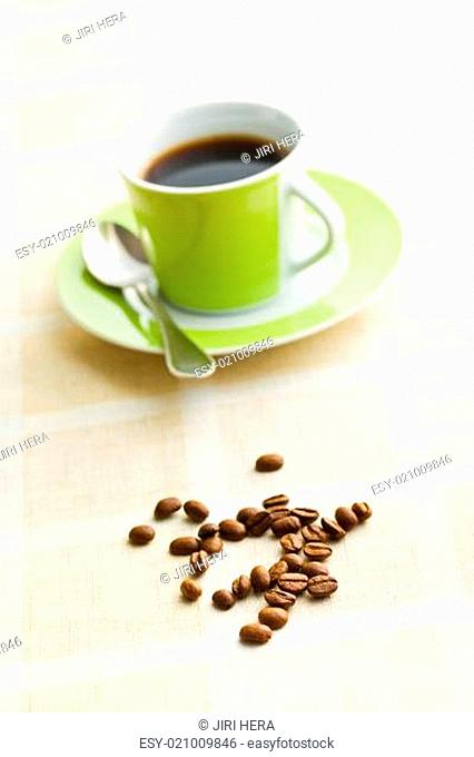 coffee beans on retro tabelcloth