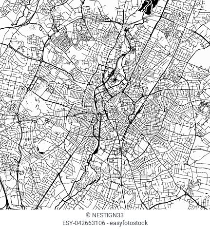 Leicester Downtown Vector Map Monochrome Artprint, Outline Version for Infographic Background, Black Streets and Waterways