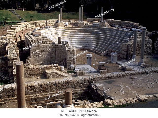 Roman theatre of Kom el-Dik, Alexandria, Egypt. Roman civilisation, 4th century AD
