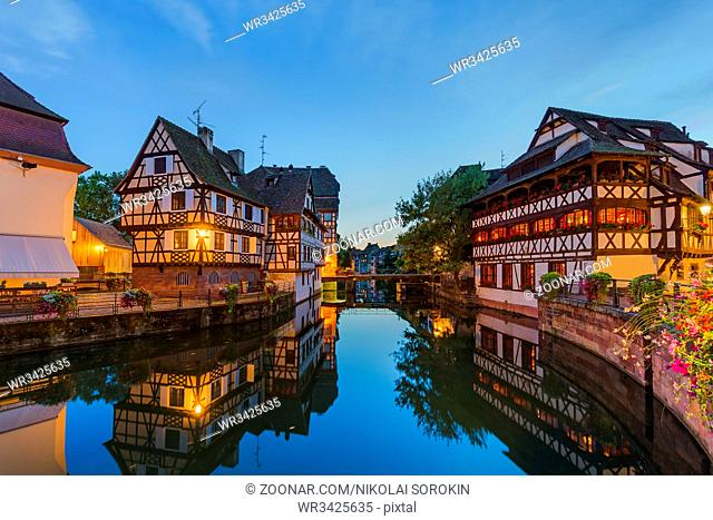 Traditional colorful houses in Strasbourg - Alsace France - travel and architecture background