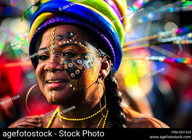 An Afro-Colombian dancer of the Cesar Conto neighborhood takes part in the San Pacho festival in Quibdó, Colombia, 27 September 2019