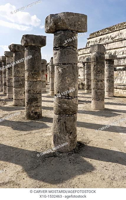 Stone columns in the Group of 1000 Columns in the Classic Maya site of Chichen Itza, Yucatan Peninsula, Mexco