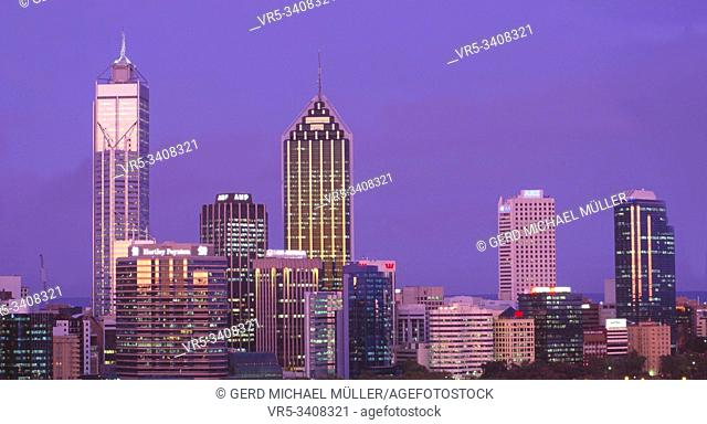 West-Australia: The glimmering Skyline of the financial district in Perth city at night