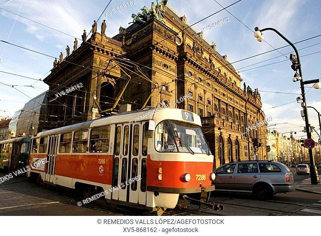 Czech republic. Prague. National Theatre and tram