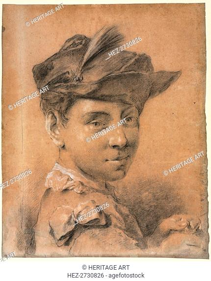 Head of a Young Man Wearing a Hat, before 1735. Creator: Giovanni Battista Piazzetta (Italian, 1682-1754)