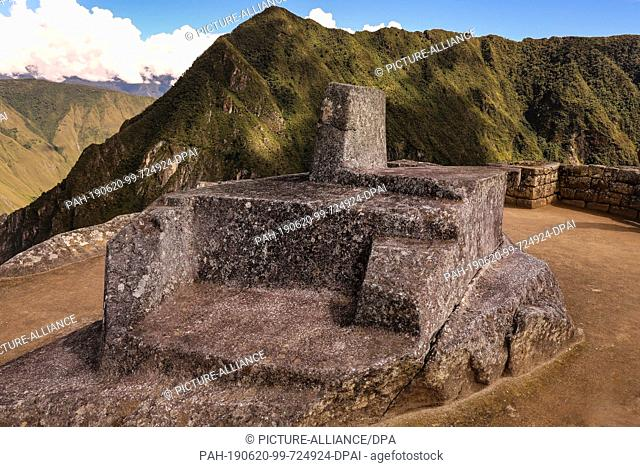 02 May 2019, Peru, Machu Picchu: The most famous sundial in Peru, or in Quechua Intihuatana is located on the most famous Inca town Machu Picchu