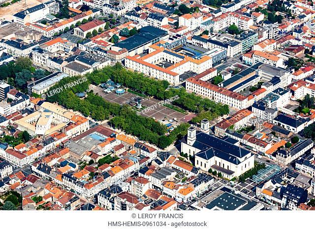 France, Vendee, La Roche sur Yon, Saint Louis church and Place Napoleon (aerial view)