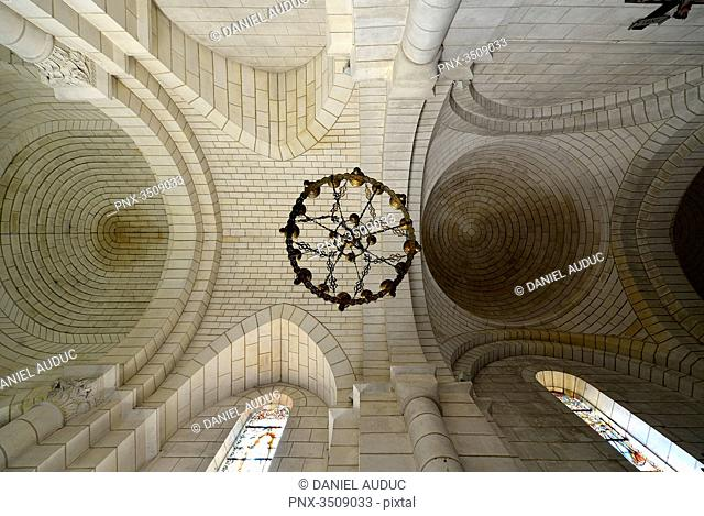 France, Dordogne, ceiling of the church of Bourdeilles