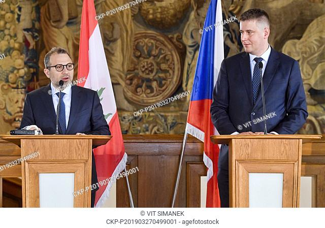 Lebanese Foreign and Emigrants Minister Gebran Bassil, left, and Czech Foreign Minister Tomas Petricek attend a news conference after their meeting to discuss...