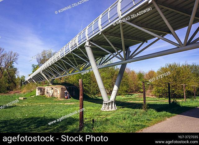 Remains of so called Iron Curtain under Freedom Cycling Bridge spanning River Morava between Slovakia and Austria in Devinska Nova Ves, Bratislava