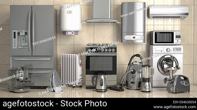 Set of home kitchen appliances on the wall background. Household technics. 3d illustration