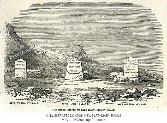 Traces of the Franklin Expedition. The graves of three of Franklin's crew at Cape Riley, Beechey Island in the Canadian Arctic Archipelago in Wellington...
