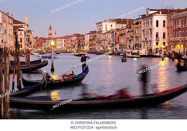 Italy, Veneto, Venice, Canal Grande, gondolas in the evening