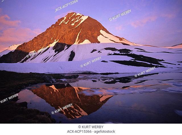 Fissle Peak and Russet Lake at sunset Coast Mountains Garibaldi Provincial Park, British Columbia, Canada