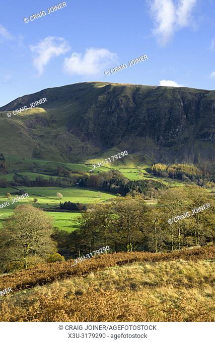 Wanthwaite Crag and Clough Head overlooking St Johns in the Vale viewed from Low Rigg in the English Lake District National Park, Cumbria, England