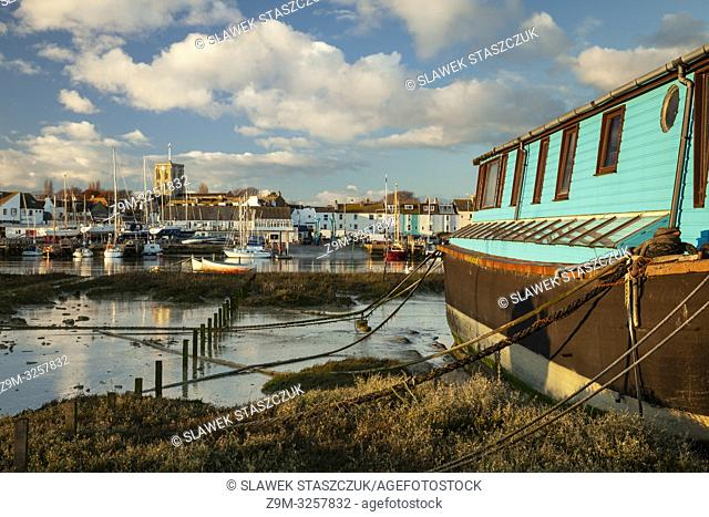 Sunset on river Adur in Shoreham-by-Sea in West Sussex, England