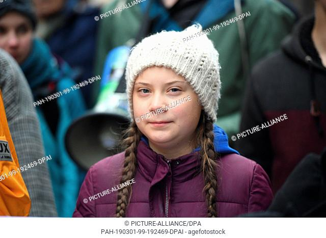 01 March 2019, Hamburg: Climate activist Greta Thunberg at a rally. The young Swedish woman has come to Germany for the first time for a school strike for more...