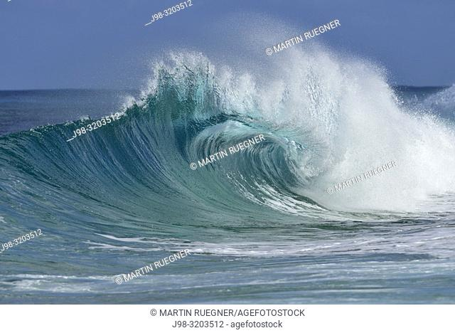 Big dramatic wave. Oahu, Hawaii, USA, Pacific Islands, Pacific Ocean