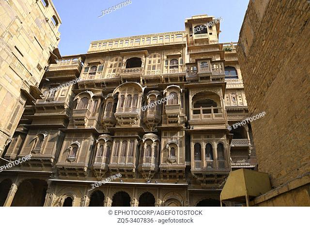 Kothari's Patwon ki Haveli, road side facade at Jaisalmer in Rajasthan, India