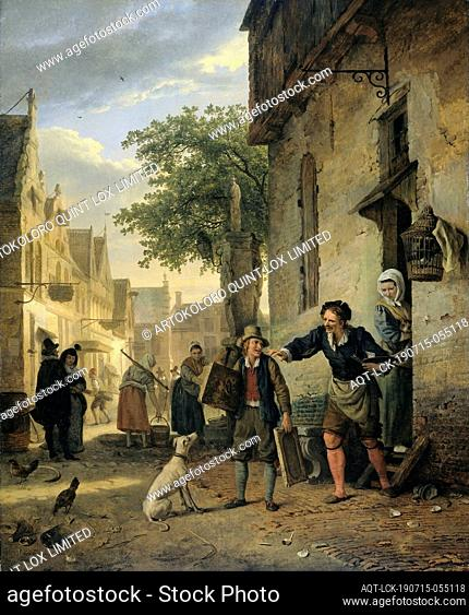Jan Steen Sends his Son to the Streets to Exchange Paintings for Beer and Wine, Jan Steen sends his son into the street to trade paintings for beer and wine
