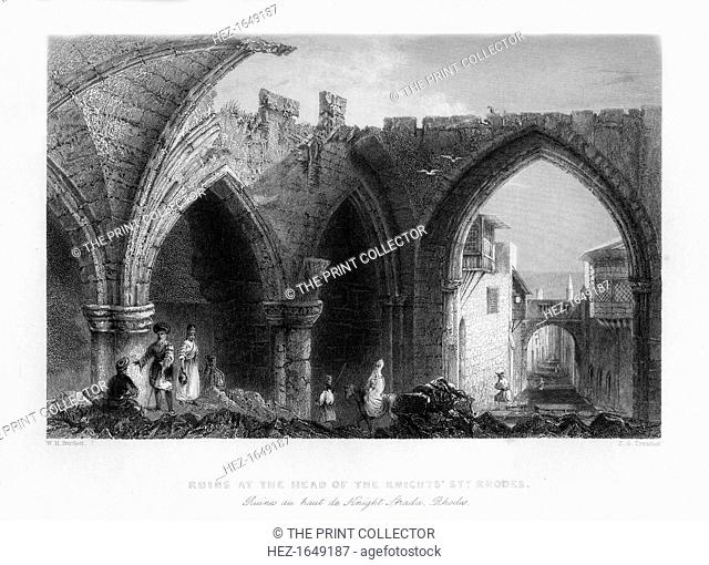 Ruins in Rhodes, Greece, 1841. From Syria, the Holy land and Asia Minor, volume III, by John Carne, published by Fisher, Son & Co. (London, 1841)
