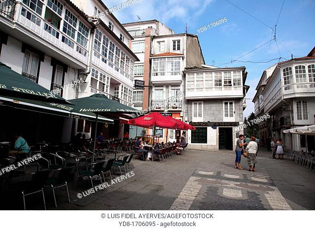 Shops and Terrazas, Santiago de Compostela, La Coruna, Galicia, Spain, Europe