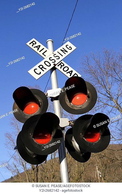 Railroad crossing sign and lights, Bellows Falls, Rockingham, Vermont, United States, North America