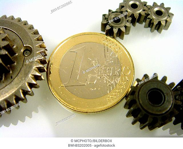 gear wheels with euro coin
