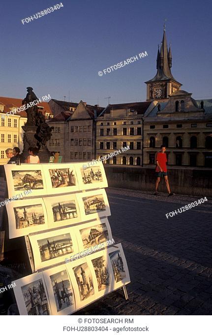 Prague, Charles Bridge, Czech Republic, Praha, Central Bohemia, Artwork displayed on Charles Bridge