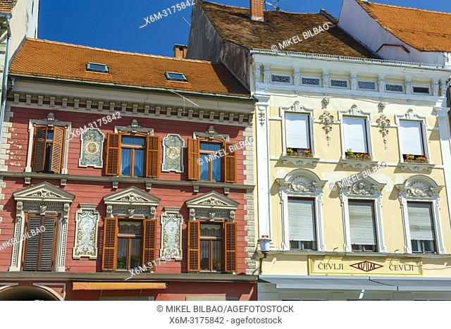 Building facade at Main Square (Travni Trg). Maribor. Lower Styria region. Slovenia, Europe