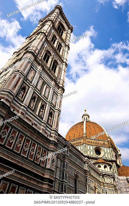 Campanile Di Giotto with Duomo Santa Maria Del Fiore, Piazza Del Duomo, Florence, Tuscany, Italy