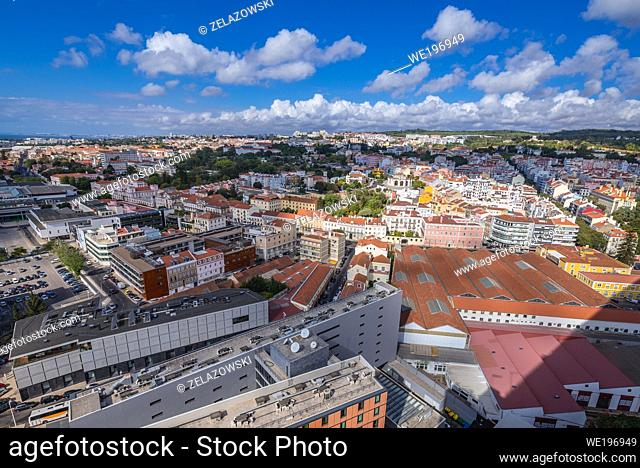 Aerial view from Pilar 7 Bridge Experience interactive centre in Alcantara district of Lisbon city, Portugal