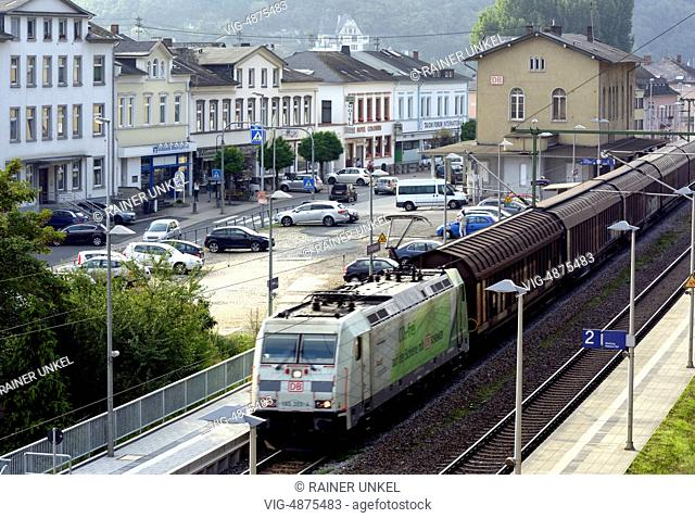 GERMANY, ST. GOARSHAUSE, 08.09.2014, DEU , GERMANY : A cargo train / freight train of Deutsche Bahn AG is passing through St. Goarshausen - St