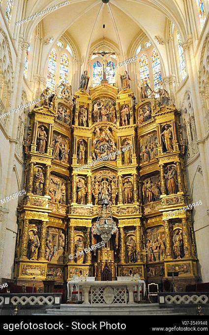 Burgos city, Catedral de Santa Maria. Capilla Mayor (13th century) y Retablo Mayor (16th century). Burgos province, Castilla y Leon, Spain