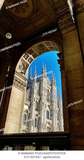 Main Facade of Duomo Cathedral Church in Milan, Italy