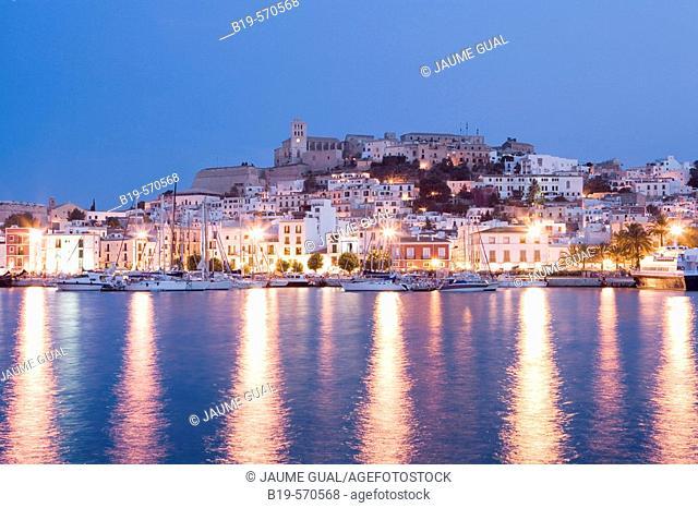 Harbor. Old town (Dalt Vila). Ibiza, Balearic Islands. Spain