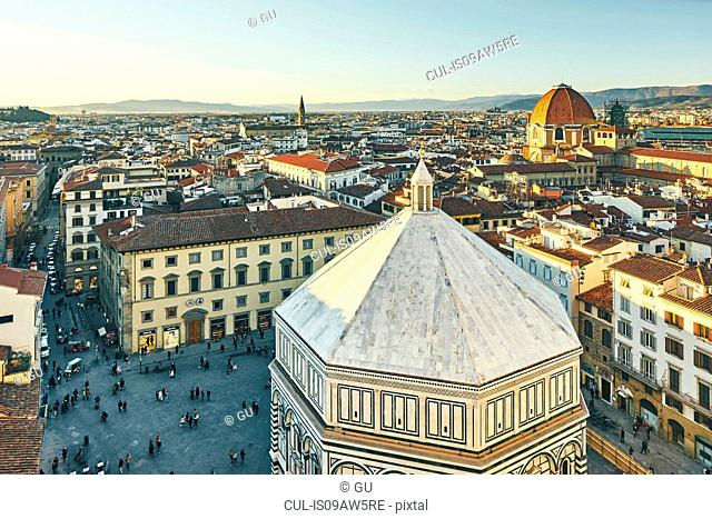 High angle view of tourists and Baptistery of St John, Florence, Italy