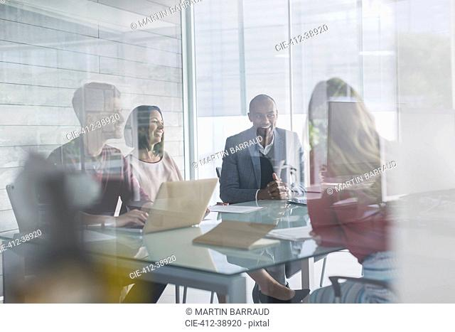 Business people talking, planning in conference room meeting