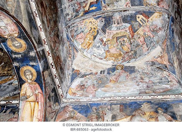 Medieval frescoes in St. Athanasius Church, Kisha e Shen Thanasit, Voskopoje, Albania, Balkan Range, Europe