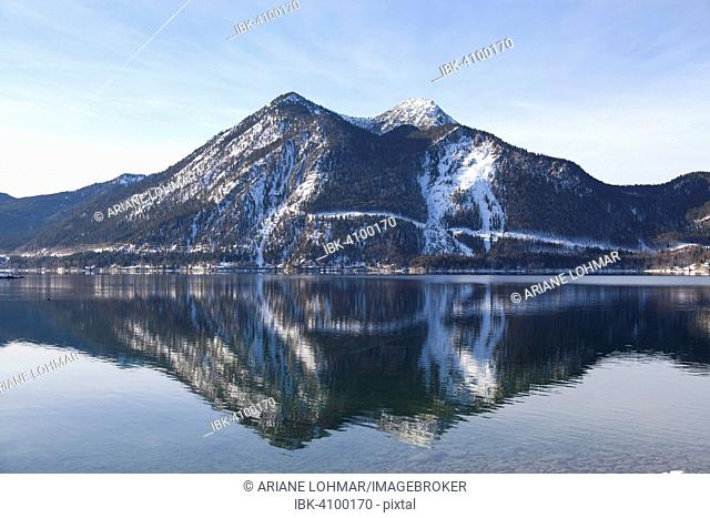 Walchensee or Lake Walchen and Herzogstand mountain in winter, Kochel am See, Jachenau, Upper Bavaria, Bavaria, Germany