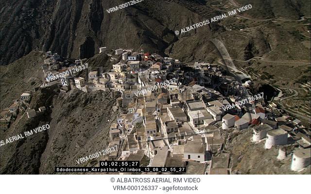 Aerial HD video of Olympos or Olymbos village in Karpathos