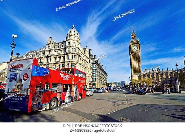 London, England, UK. Double-decker tourist sightseeing bus in Parliament Square