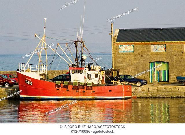 Fishing boats at Kilronan harbour. Inishmore. Aran Islands. Galway Co. Ireland