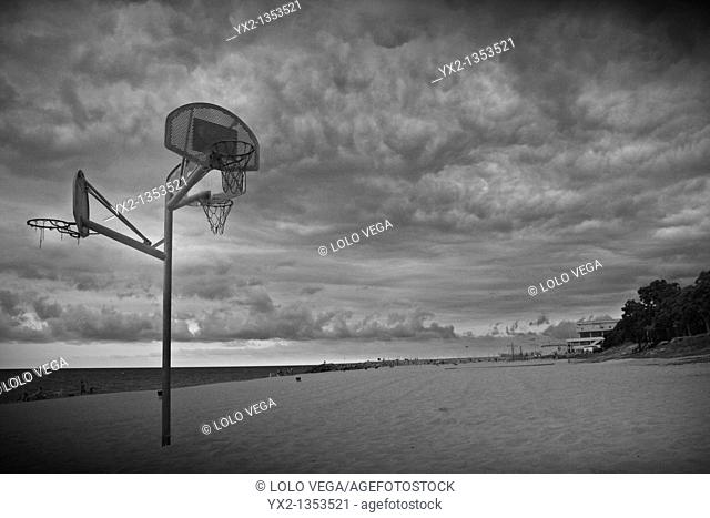 Basket on beach, Barcelona, Catalonia, Spain