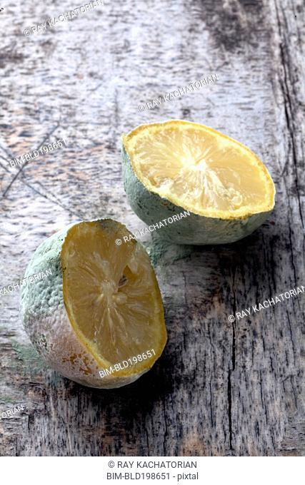 Close up of cut, molding lemon